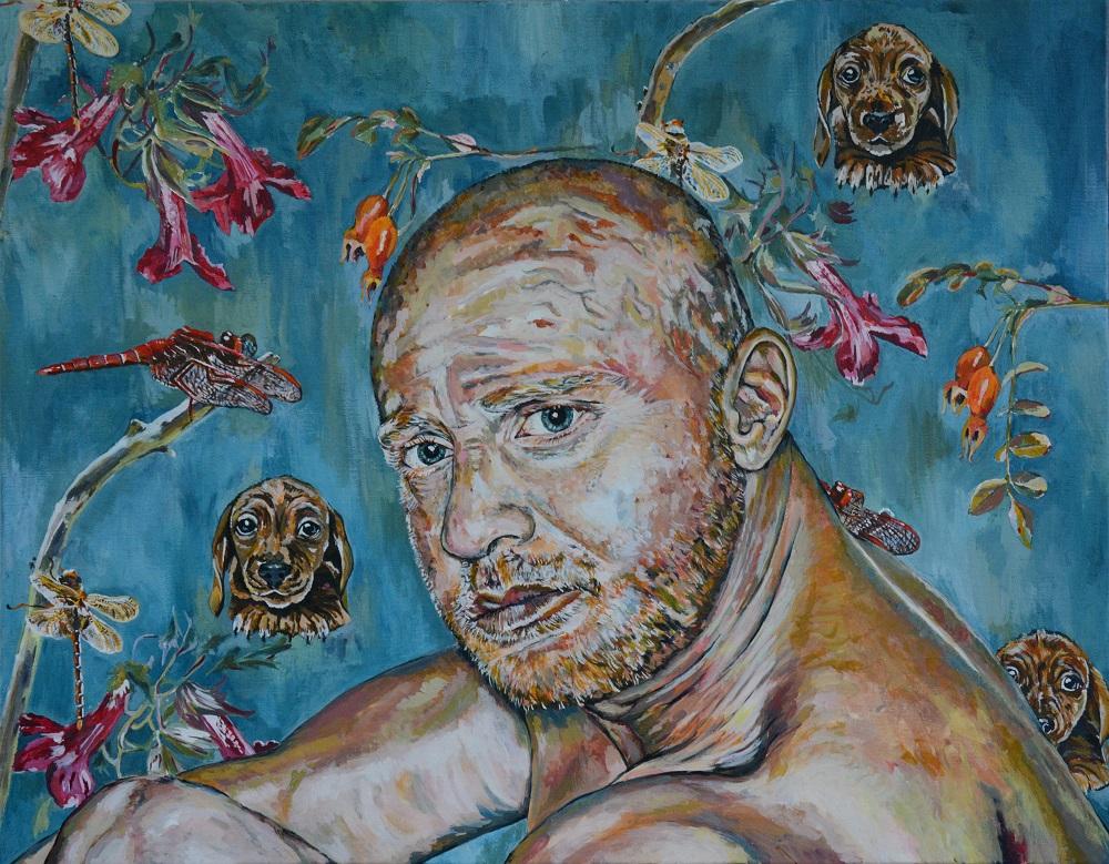 Rufus, 2015, Ei Tempera op linnen, 70 x 90 cm.